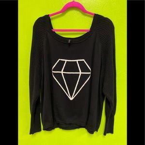 Heart N Crush Sweater Black w/Diamond Cotton XL